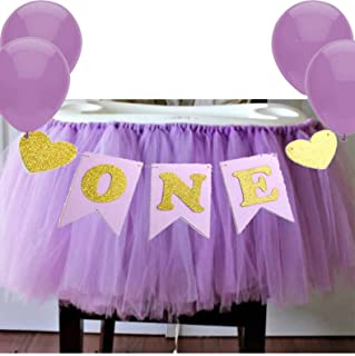 Purple 1st Birthday Baby Tutu for High Chair Decoration and