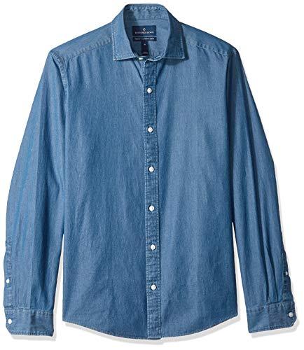 Arrow 1851 Men's Hamilton Poplin Short Sleeve Button Down Plaid Shirt, Navy Blazer, Medium