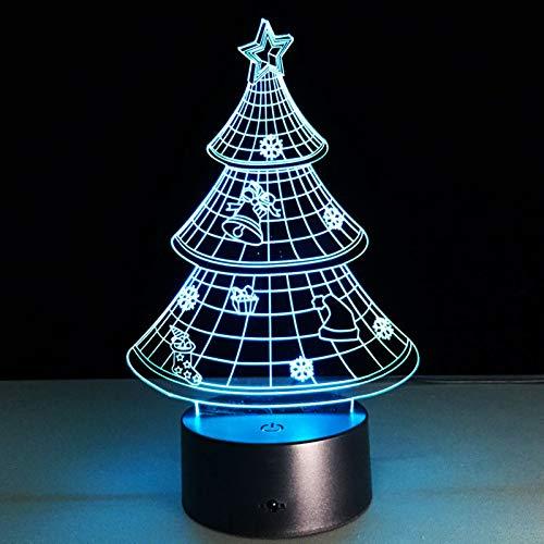 Arbre de Noël 3D Nouveauté Acrylique Lampe LED 7 couleurs Lumière de nuit changeante Noël donne le cadeau des enfants