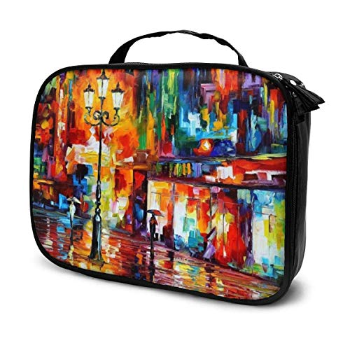 Lawenp Abstract Lights Night Scene Makeup Train Cases Professional Travel Makeup Bag Cosmetic Cases Organizer Portable Storage Bag for Cosmetics Makeup Brushes Toiletry Travel Accessories