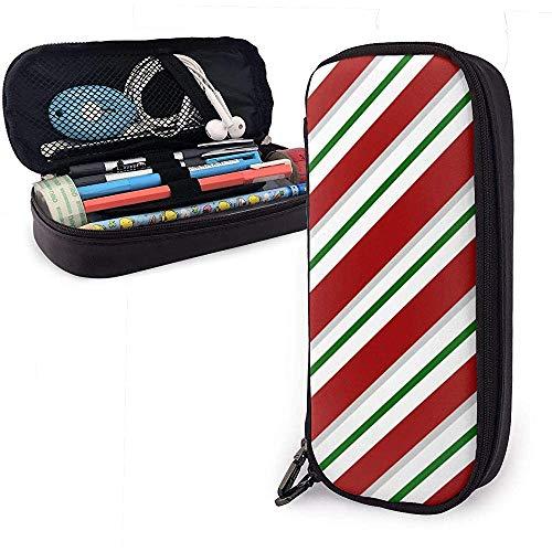 Estuche de lápices Bastones de caramelo navideños Raya PU Bolsa de cuero Bolsas de almacenamiento Bolso de lápiz portátil Carteras con cremallera