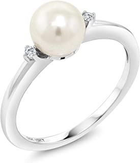Gem Stone King 10K White Gold 7mm Cultured Freshwater Pearl Engagement Ring With Diamond Accent (Available 5,6,7,8,9)
