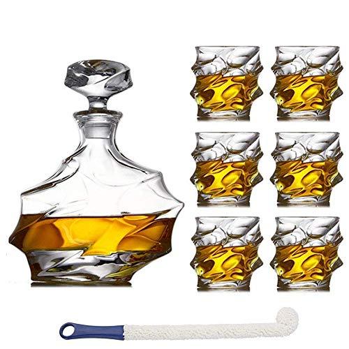7-Piece Crystal Whiskey Carafe Set for Men with 6 Great Cocktail Glasses for Rum,Scotch or Bourbon,Dishwasher Safe intelligentJP