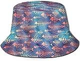 Sombrero de Cubo de Viaje con Estampado de Cachorros Unisex, Gorra de Pescador de Verano, Sombrero para el Sol, Huesos de Pescado Abstractos