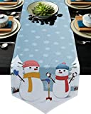 Triangle Cotton Linen Table Runners 90 Inches Long Home Decor for Wedding, Dinner, Events, Christmas Winter Cute Snowman and Snowflake Pattern, Tabletop Collection 13x90 Inch(99x229cm)