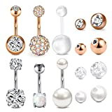 Longita Belly Button Rings Silver for Women Surgical Stainless Steel 14g Opal Diamond Pearl Belly Ring Navel Piercing Jewelry with Replacement Ball 10mm Silver Rose Gold Pack