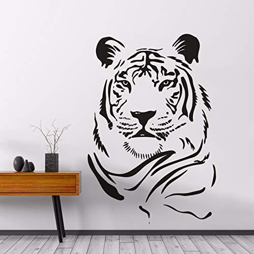 Animale selvatico Adesivo da parete Testa di tigre Decalcomania in vinile Foresta Tema Pittura murale Tiger Power Style Poster da parete Decorazione tigre Carta da parati A8 57x84cm