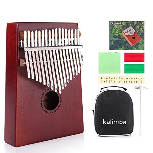 MINGPINHUIUS Pulgar Kalimba 17 teclas - Instrumento Musical Madera Melocotón Core, Thumb Piano Controlador pulgar, Perfecto y...