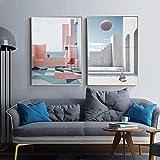 YRWL Carteles de Lona de la Costa del Paisaje nórdico Impresiones imágenes de la Playa para la Sala de Estar Arte de la Pared Dormitorio Pasillo Pintura del hogar decorativo-30x60cmx2 Sin Marco