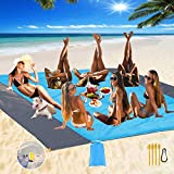Fashion Beach Blanket, Oversize 108' x 120' for 10-12 AdultWaterproof Outdoor Portable Picnic Mat with 4 x Stakes & Corner Pockets - Beach Mat for Travel, Camping, Hiking, Music Festivals, BBQ (Blue)