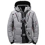 Flashing Chaqueta de invierno para hombre, casual, color blanco, con capucha, abrigos para hombre, cortavientos, espesar parkas (color: gris, tamaño: código M)