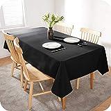 Amazon Brand - Umi Tischdecke Wasserabweisend Tischdecke Lotuseffekt Tischtücher 130x280 cm Schwarz