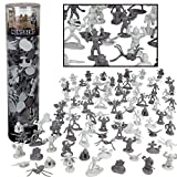 Monster Mini Action Figure Playset- 100 Horror Toy Miniatures w 13 Unique Sculpts - Dracula, Frankenstein, Giant Spiders and More- XL 1/32nd Scale RPG Character for DnD, Pathfinder, RPG Accessories