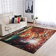 Tobgreatey Area Rugs Alfombra Otoño Otoño Arce Árbol Hojas Solar Felpudo Cuadrado para dormitorio Blanco 122 x 183 cm