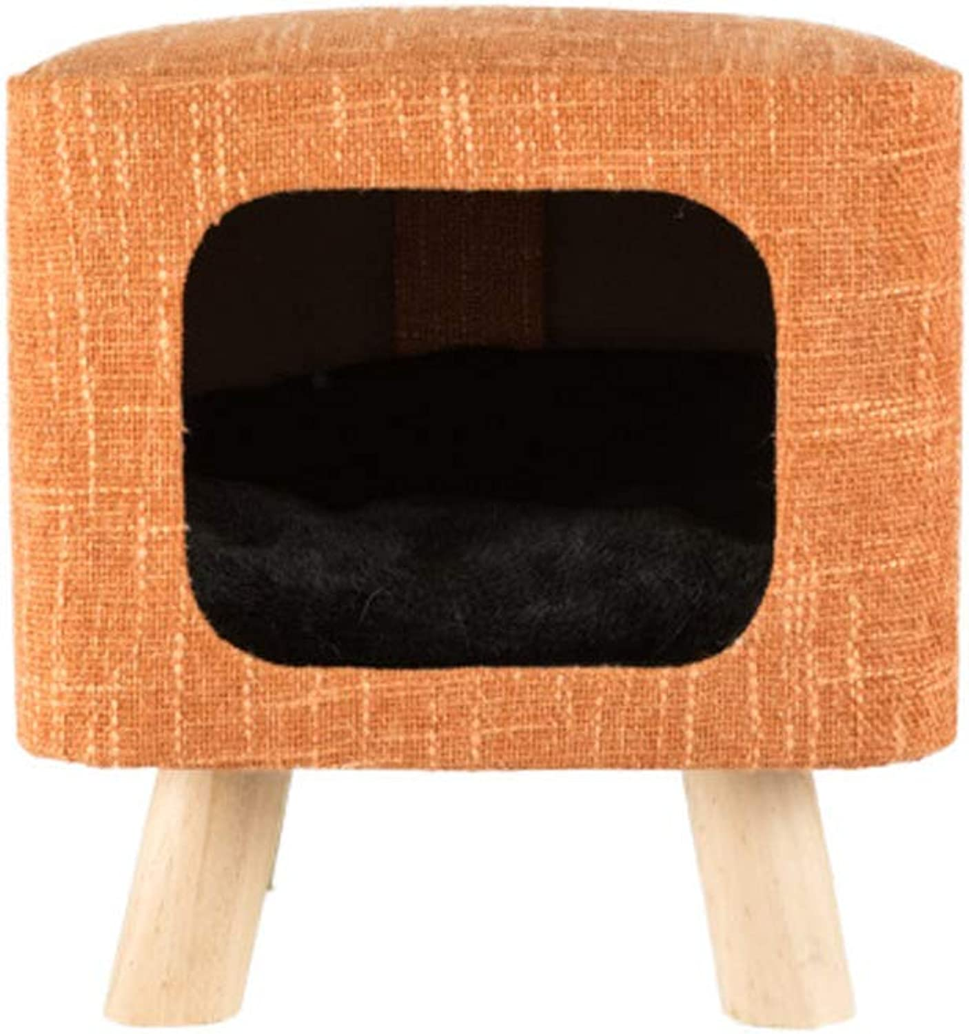 LiRongPing Honey pot cat, cat room, four seasons universal cat house, cat house, cat room, small stool, solid wood leg seat cat house (color   orange)