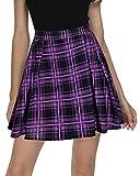 Urban CoCo Women Plaid Pleated Mini Skater Skirt High Waisted School Skirt (Purple, M)