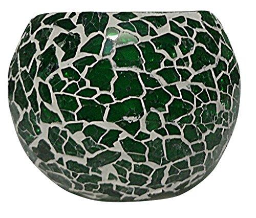 Hare Krishna Portacandela da tè con luce verde di San Valentino in vetro mosaico 8 Cm