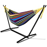 1962 Double Cotton Hammock with Space Saving 9ft Steel Stand, Heavy Duty Portable Combo for Indoor Outdoor Backyard Patio Camping, 2 Person Frame 450 lb Capacity, Storage Bag Included (Tropical)
