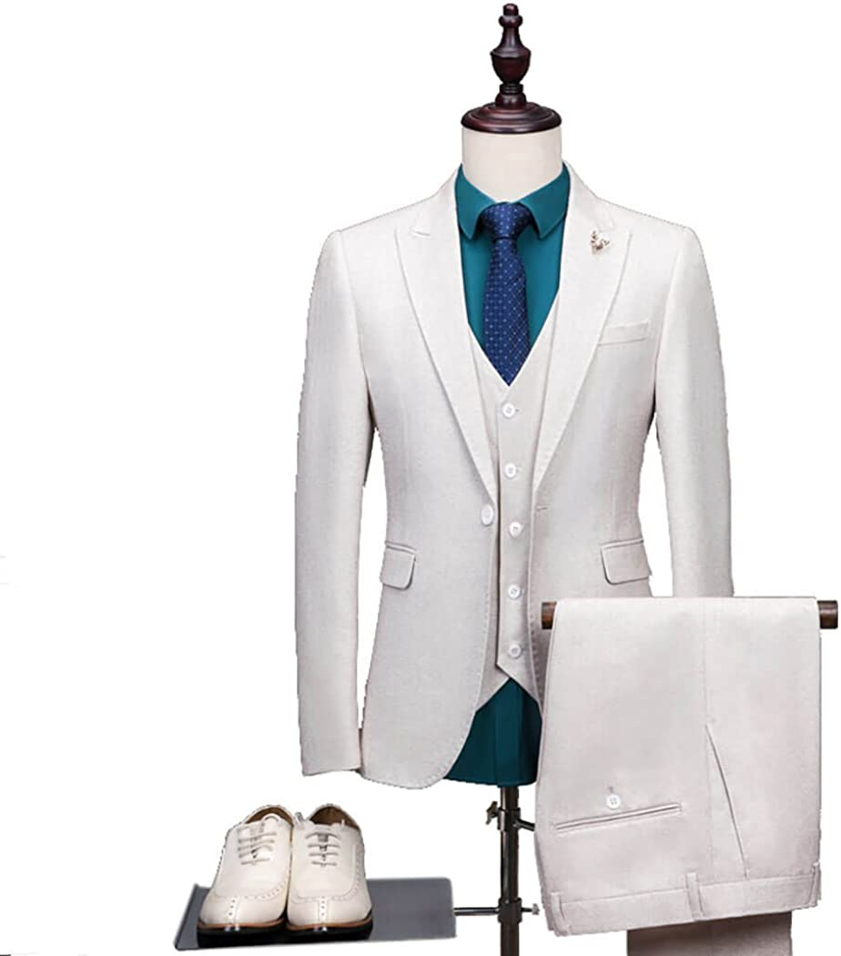 Mens Solid White One Button Single Breasted Wedding Classic Slim Fit Tuxedo Blazer Vest Pants