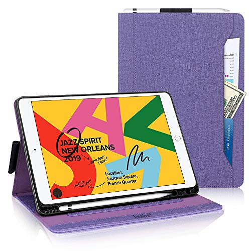 New iPad 10.2 Case (2019), Toplive Canvas Stand Folio Case Cover for iPad 7th Generation 10.2 inch 2019 with Apple Pencil Holder,Auto Sleep Wake Function and Multiple Viewing Angles,Purple