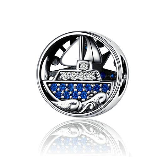 Charm in argento Sterling 925 a forma di barca a vela con ciondolo a forma di oceano, per braccialetti Pandora