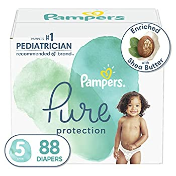 Diapers Size 5 88 Count - Pampers Pure Protection Disposable Baby Diapers Hypoallergenic and Unscented Protection Enormous Pack  Packaging May Vary