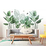 Adhesivos de pared Planta Tropicales Hojas Verde Removable Tropical Tree Leaves Plants Waterproof DIY Art Decor Pegatinas para Salón,Dormitorio,Oficina,Frigorífico,Pared de Fondo de Tv Etc (Planta 1)