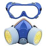 Ewolee Máscara Antigas, Gas Mask Respirador de Cartucho Doble Química Industrial Máscara Reutilizable con Gafas Protectoras contra Polvo Niebla Tóxica Pintura en Aerosol(Azul)
