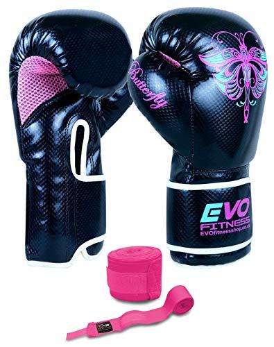 EVO Fitness Damen Gel-Rex-Leder-Boxhandschuhe, Boxsack, MMA, Muay Thai, Kampfsport, Kickboxen (170 g)