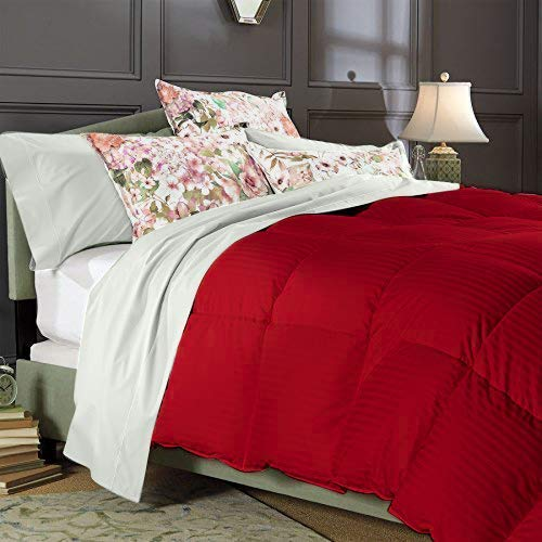 Best Bedding 800 Thread Count Full/Queen Size Alternative 3 Piece Comforter Set with 100% Natural Egyptian Cotton Stripe Cover - Red