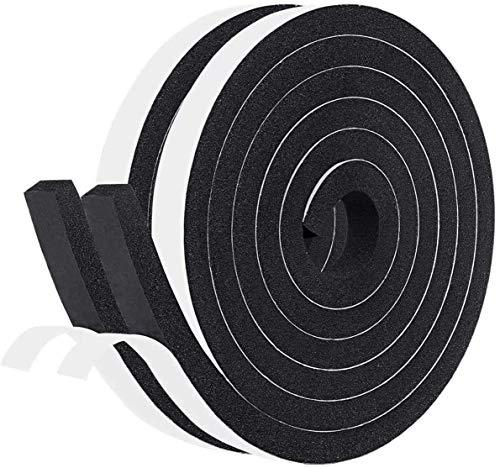 Selbstklebend Schaumstoff Klebeband 12mm(B) x 10mm(D) x 4m(L) Dichtungsband für Türen Fenster, Türdichtungen Gummidichtung mit hoher Dichte Anti-Kollision Gegen warme kalte Zugluft und Lärm Schwarz