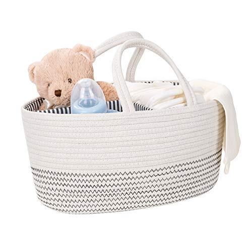 THappy Bolsa de almacenamiento para pañales de bebé, organizador de cajas de almacenamiento de juguetes, cesta de almacenamiento, 100% algodón tejido de cuerda, agradable al tacto y no alérgico