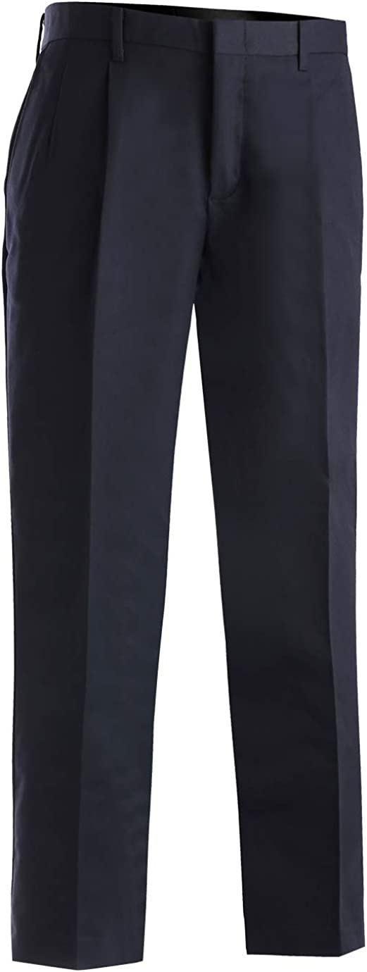 Edwards Men's Business Casual Pleated Chino Pant Navy