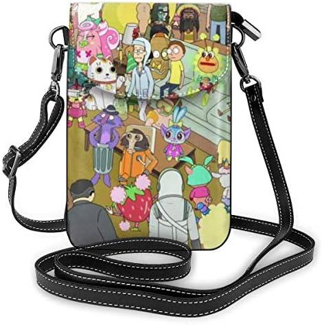 Ri Morty Lichtgewicht Kleine Crossbody Tassen Lederen Mobiele Telefoon Portemonnees Travel Pouch Schoudertas Portemonnee met Credit Card Sl