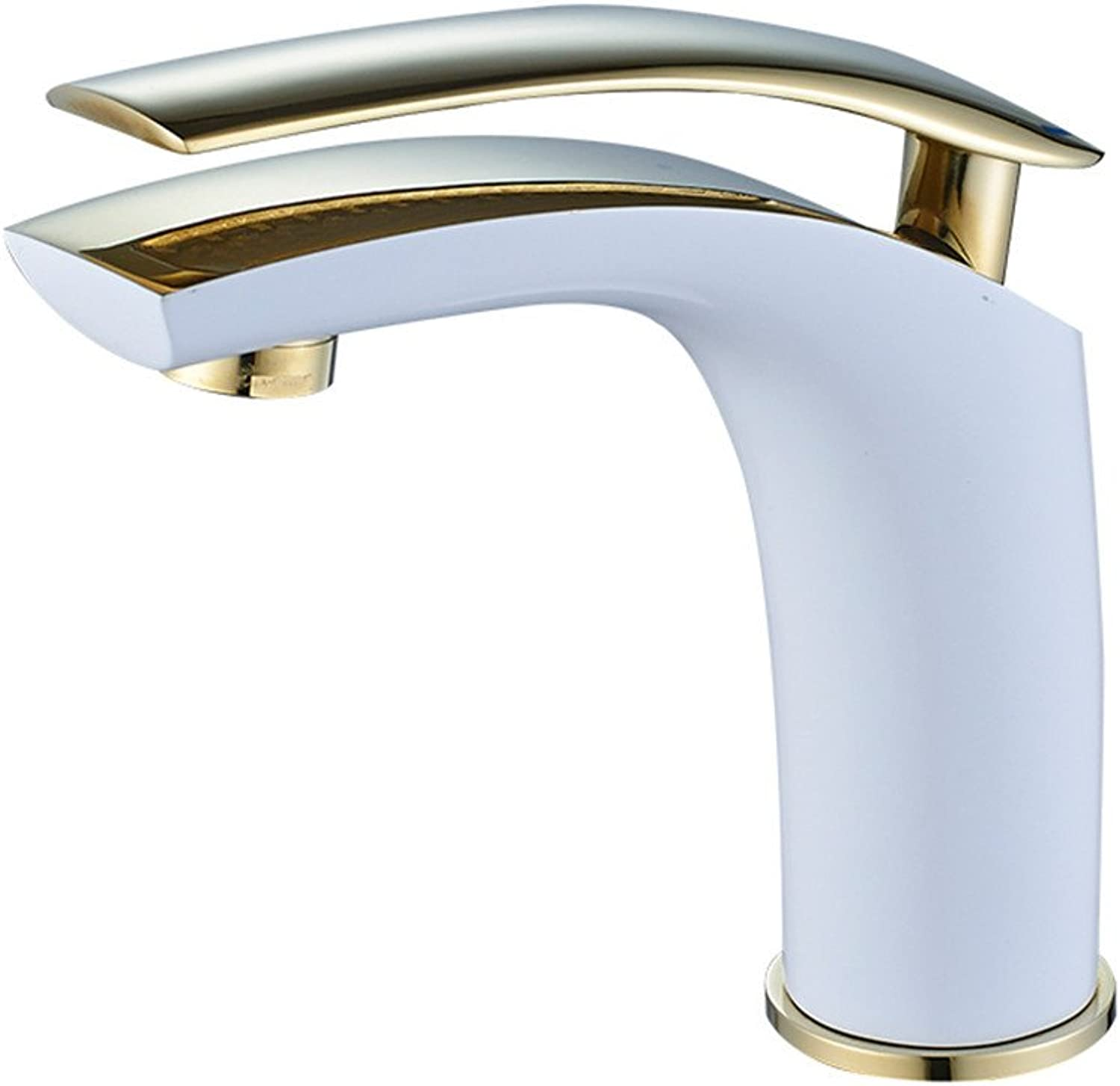 AQMMi Bathroom Sink Faucet Basin Mixer Tap Copper White Single Handle One Hole Cold and Hot Water golden Basin Sink Tap Bathroom Bar Faucet