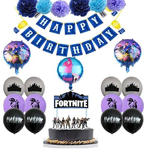 Videojuegos Cumpleaños Decoracion Juegos Globos Gaming Globos de Látex Pancarta de Feliz Cumpleaños de Gaming Adornos para Pastel de Video Game Pompones de Papel para Juegos
