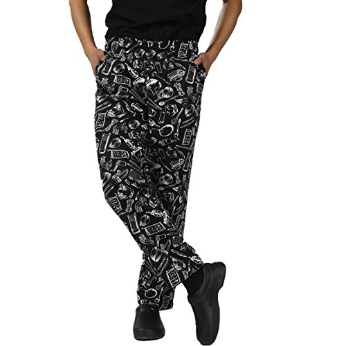 JXH Chef Uniforms men's white kitchen ware printed 100% cotton chef pants,Black,US:XXL