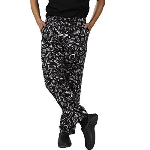 JXH Chef Uniforms men's white kitchen ware printed 100% cotton chef pants , Black , US:M