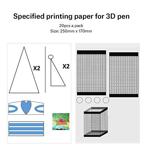 20 Stücke 3D Drucker Zeichnung Papier, Zeichnung Vorlage Papier Formen für 3D Druck Stift mit 40 Cartoon Muster Kinder DIY Geschenk - 2