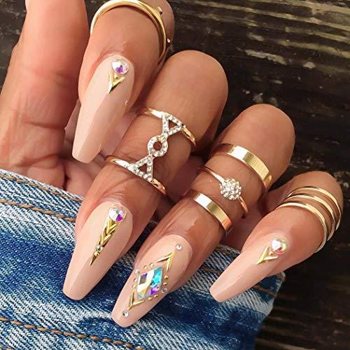 Flrora Vintage Kristall Fingerring Set Gold Blume geschnitzte Gelenk Knöchelringe Stilvolle stapelbare Ringe für Frauen und Mädchen (5er Pack)