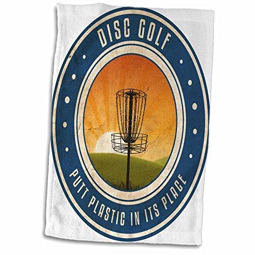 3dRose Putt Kunststoff in seinen Platz # 11, Silhouette of Frisbee Disc Golf Korb als die Sonne Handtuch, weiß, 15x 22