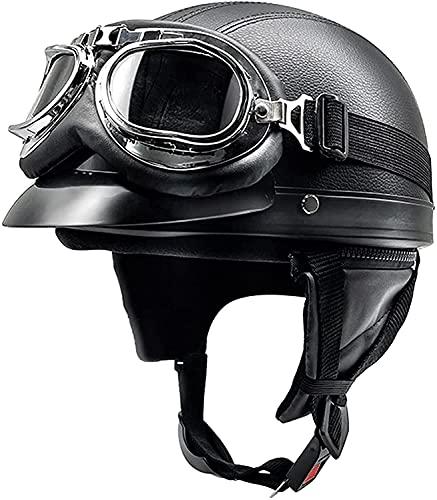 Open-Face Motorradhelme Vintage Jethelm Halbschalenhelm Motorrad Halbhelm ECE Zertifiziert für Herren und Damen Roller Moped Street Cruiser Jet Style Helm 6,54-62CM