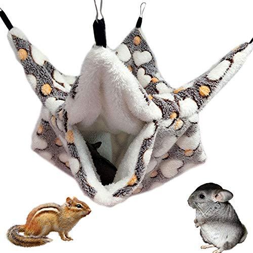 NALCY Hamaca Pequeña para Mascotas, Hamster Hamaca de Doble Capa, Hamaca Pequeña para Mascotas, Doble Capa, Jaula para Hámster Accesorios, para Chinchilla Loro o Azúcar, Deslizador, Hurones, Rata