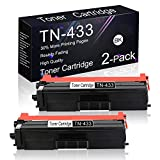 Compatible Toner Cartridge 2 Pack Black TN-433 Replacement for Brother HL-L9310CDW / L9310CDWT / L8360CDWT / L8260CDW, MFC-L8610CDW / L8900CDW / L9570CDW / L9570CDWT, DCP-L8410CDW Printers.