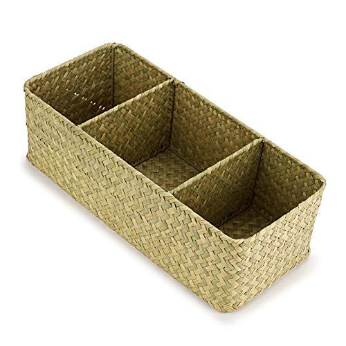 IGNPION Cesta de almacenamiento de pastos marinos de 3 compartimentos cesta de escritorio de pasto marino rectangular estantes y escritorios cesta decorativa (color natural)