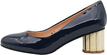 Amazon.co.uk: Navy Patent Block Heels