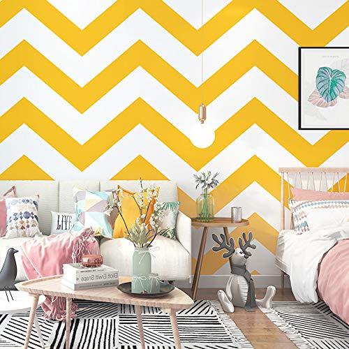 JKONG Wellenmuster Tapete Warmgelb Skandinavischer Stil Einfacher Hintergrund Tapete Gelb und Weiß Welle PVC 10m * 53cm