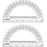 Plastic Protractor Math Protractors 180 Degrees, 6 Inch, Clear, Pack of 2...