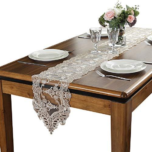 BWZF Tafelloper, eenvoudige Europese kant, stof, tafelloper, tafelkleed, tv-kast, geborduurde mat, tafelkleed, bedloper, 26 cm breed 26×180cm Champagne Color