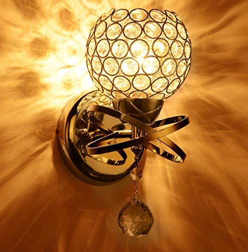 Verdelife Lámpara de pared de cristal de lujo, lámpara de pared decorativa de estilo moderno con enchufe E14 para dormitorio, sala de estar, pasillo, etc, plateado/dorado